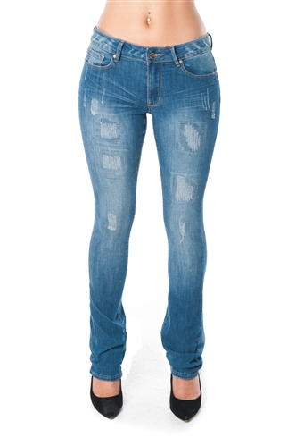 3047N-NP5089-Dark Blue- Distress Bootcut Jean By Nine Planet/ 1-1-1-2-2-2-1-1-1