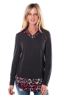 3051N-172-RA291-Charcoal-  V-Neck Two-Fer Pullover / 1-2-2-1