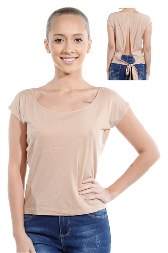 3069N-1530-Camel-Short Sleeve Top / 2-2-2