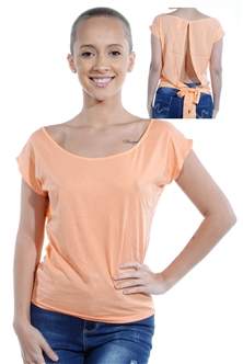 3069N-1530-Coral-Short Sleeve Top / 2-2-2