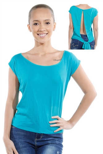 3069N-1530-Peacock Blue-Short Sleeve Top / 2-2-2