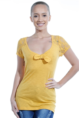 3069N-1626-Mustard-Short Sleeve Blouse / 2-2-2