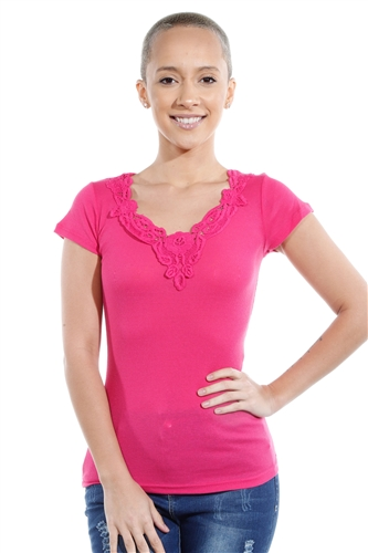 3069N-1659-Fuchsia-Short Sleeve Top / 2-2-2
