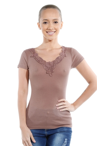 3069N-1659-Mocha-Short Sleeve Top / 2-2-2