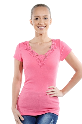 3069N-1659-Pink-Short Sleeve Top / 2-2-2