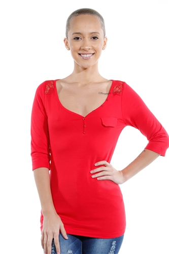 3069N-1694-Red-3/4 Sleeve Blouse / 2-2-2