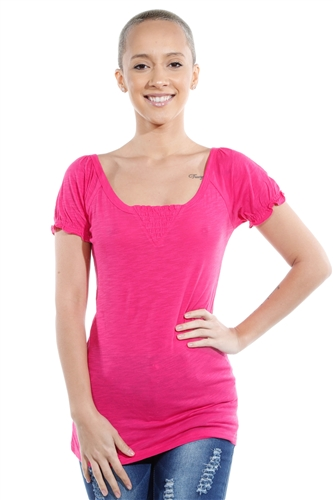 3069N-1814-Fuchsia-Short Sleeve Top / 2-2-2