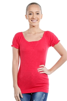 3069N-1814-Red-Short Sleeve Top / 2-2-2