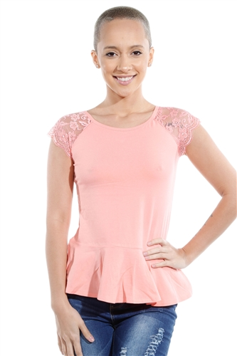 3069N-3286-Blush-Flare Short Sleeve Top / 2-2-2