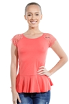 3069N-3286-Coral-Flare Short Sleeve Top / 2-2-2
