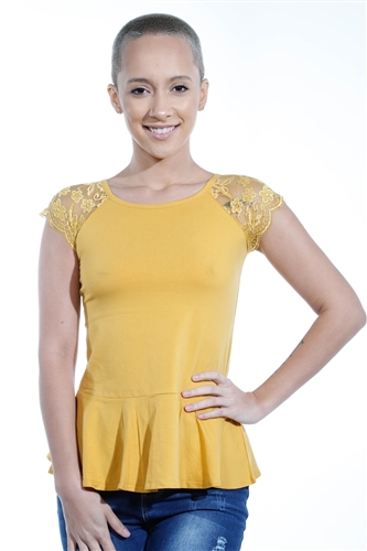 3069N-3286-Mustard-Flare Short Sleeve Top / 2-2-2