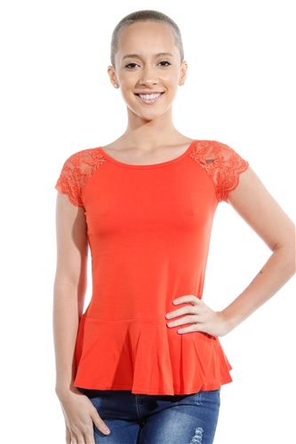 3069N-3286-Orange-Flare Short Sleeve Top / 2-2-2