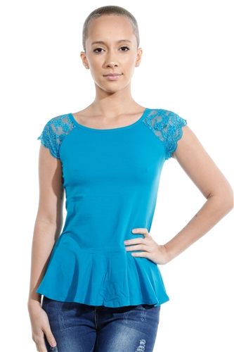 3069N-3286-Peacock Blue-Flare Short Sleeve Top / 2-2-2