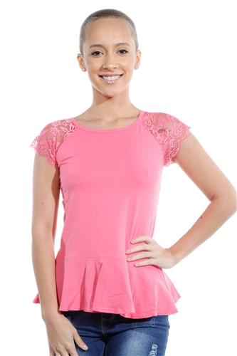 3069N-3286-Pink-Flare Short Sleeve Top / 2-2-2