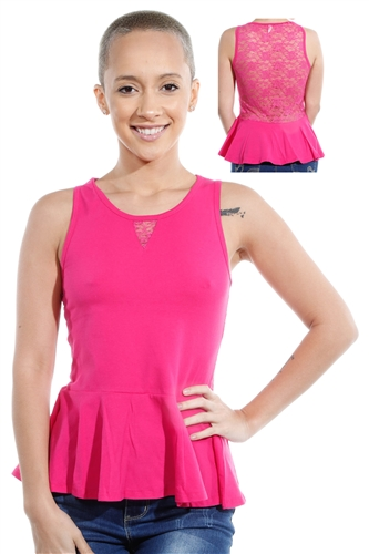 3069N-3346-Fuchsia- Sleeveless Top / 2-2-2