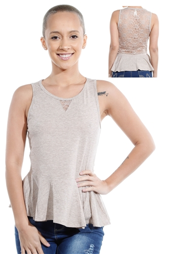 3069N-3346-Oatmeal-Sleeveless Top / 2-2-2