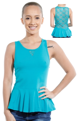 3069N-3346-Peacock Blue-Sleeveless Top / 2-2-2