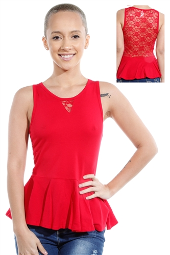 3069N-3346-Red-Sleeveless Top / 2-2-2