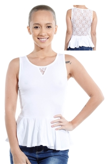 3069N-3346-White-Sleeveless Top / 2-2-2