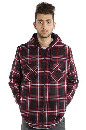 3073NN-52223A-Blk-Red- Men's Hooded Jacket / 2-4-4-2