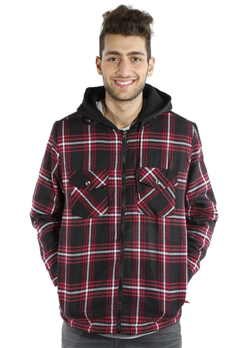 3073NN-52223B-Blk-Red- Men's Hooded Jacket / 2-4-4-2