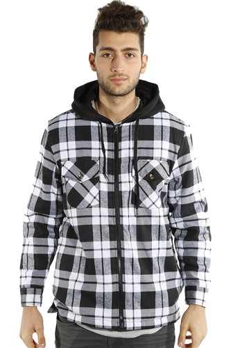 3073NN-52223B-Blk-White- Men's Hooded Jacket / 2-4-4-2