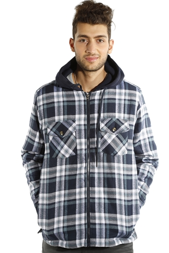 3073NN-52223B-Blk-White-Grey Men's Hooded Jacket / 2-4-4-2