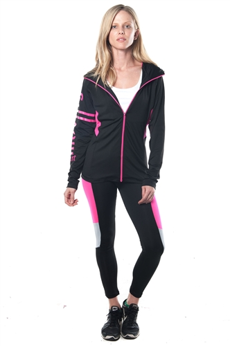3075N-AYS234-Black/Pink- Ladies Active 2 Pcs Set Outfit / 1-2-2-1**available color in Grey, Charcoal**