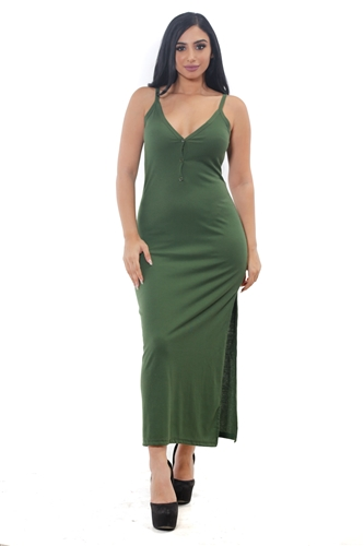 3075N-RD1304-Olive- Women's V Neck Side Slit Rib Long Dress /1-2-2-1
