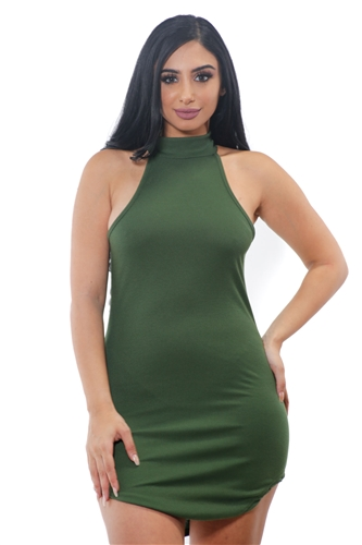 3075N-RD1309-Olive-Women's Rib Turtleneck Sleeveless Slim Bodycon/1-2-2-1