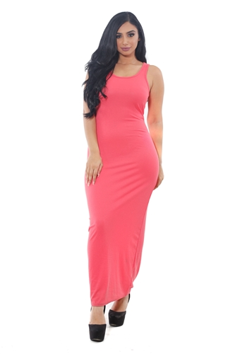 3075N-RD1314-Coral- Women's Rib Long Dress /1-2-2-1