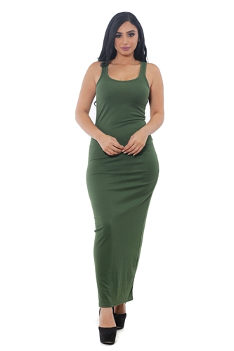 3075N-RD1314-Olive- Women's Rib Long Dress /1-2-2-1