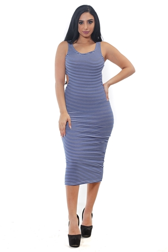 3075N-RD1315-Navy/White-Women's Rib Long Dress Stripes Bodycon w/ Cut-Out Details on Both Sides   /1-2-2-1