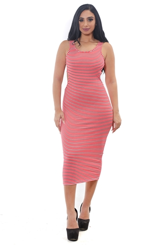 3075N-RD1315-Red/White-Women's Rib Long Dress Stripes Bodycon w/ Cut-Out Details on Both Sides   /1-2-2-1