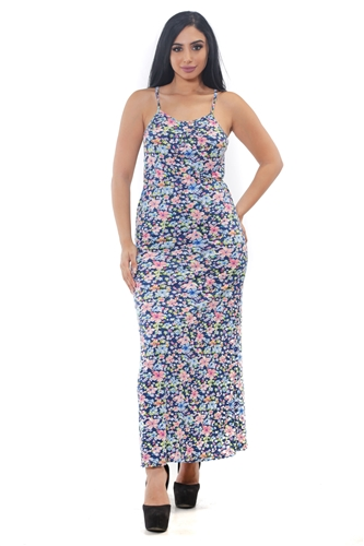 3075N-SP1116-All Over Printed-Women's Long Floral String Dress /1-2-2-1