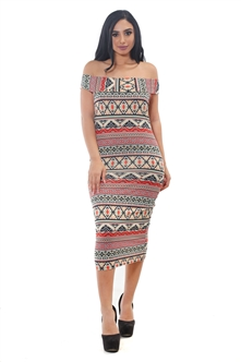 3075N-SP1118-All Over Printed-Women's Printed Cowlneck Off Shoulder Dress /1-2-2-1