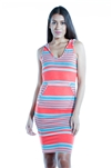 3075N-SP1121-Stripes-Ladies Hoodie Stripes Mini Dress /1-2-2-1