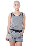 3075N-SRJ402-Charcoal-Women's Racer Back Casual Romper Shorts/ 1-2-2-1