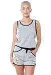 3075N-SRJ402-Grey-Women's Racer Back Casual Romper Shorts/ 1-2-2-1