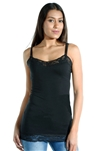 3081N-ST9001-Black-Women's Casual Long Camisole Cami / 2-2-2