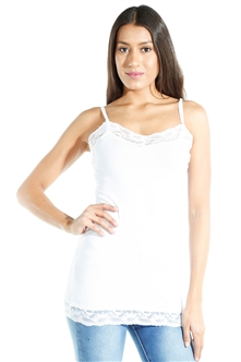 3081N-ST9001-White-Women's Casual Long Camisole Cami / 2-2-2