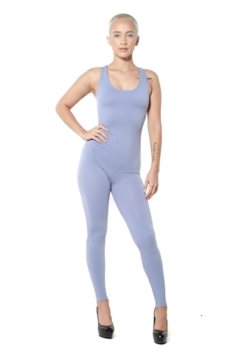 3086N-BC216-Dusty Blue-Women's Racer Back Body Suit / 10pcs One Size Fits All