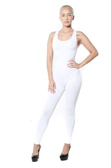 3086N-BC216-White-Women's Racer Back Body Suit / 10pcs One Size Fits All