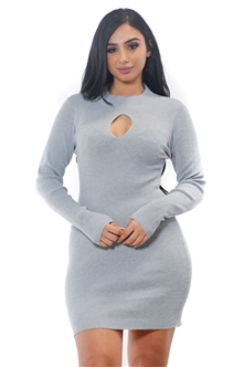 Ladies Body con Rib Long Sleeve Sweater Dress / 1-2-2-1 *** Available color Burgundy, Charcoal, Navy, Black ***