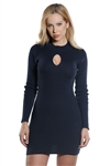 Ladies Body con Rib Long Sleeve Sweater Dress