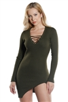 Ladies Bodycon Lace Up Choker Rib Long Sleeve Sweater Dress / 1-2-2-1
