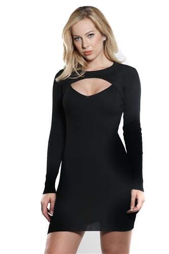 Ladies Bodycon V Neck Choker Rib Long Sleeve Sweater Dress by special one