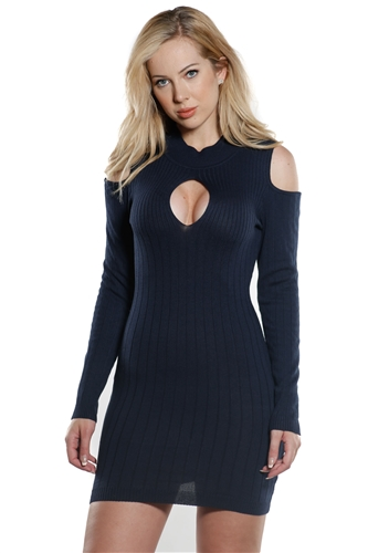 Ladies Bodycon Mock Neck Rib cold shoulder Long Sleeve Sweater Dress  by Special One