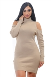 Ladies Bodycon Cold Shoulder Rib Long Sleeve Sweater Dress by Special One/ 1-2-2-1 *** Available color Black, Navy, Charcoal, Bugundy***