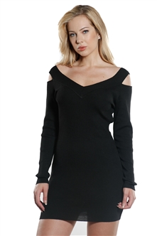 Ladies Bodycon V Neck Cold Shoulder Rib Long Sleeve Sweater Dress By Special One